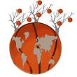 Постер, плакат: Карта мира есть на баскетбольном мяче и деревья на белом фоне
