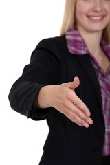 Woman holding her hand out for a handshake