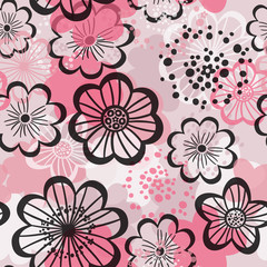 Seamless floral background. Graphic pink flowers.