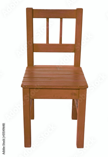 Brown children's chair, isolated on a white background
