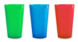 Three colorfull empty plastic cups