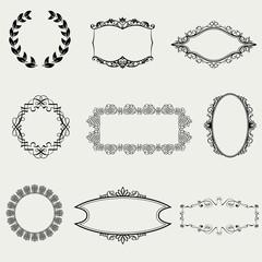 Set of vintage frames and design elements - vector illustration
