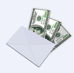 One hundred dollars under envelope