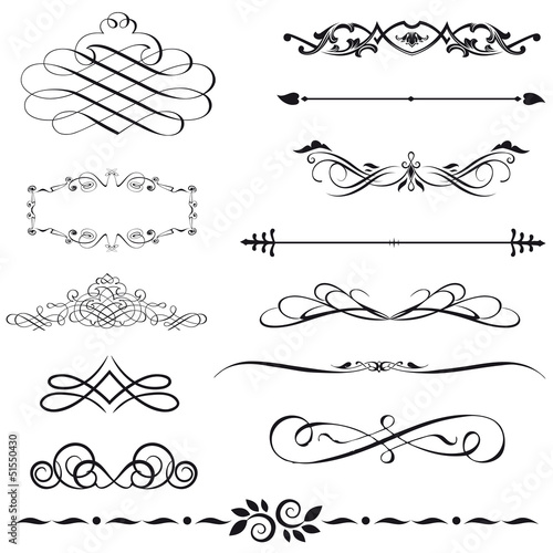 Vector set calligraphic element and page decoration.