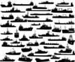 Set of 46 silhouettes of sea yachts, towboat and the ships