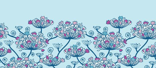 Vectpr Spring Flowers Horizontal Border Seamless Pattern