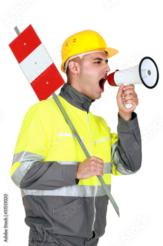 Laborer screaming