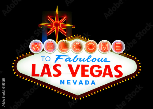 In de dag Las Vegas Welcome to Las Vegas sign isolated