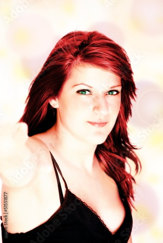 girl with red hair and green eyes