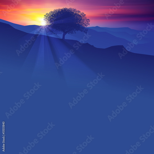 abstract background with silhouette of tree