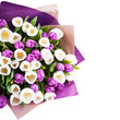 Bouquet of tulips isolated on white background
