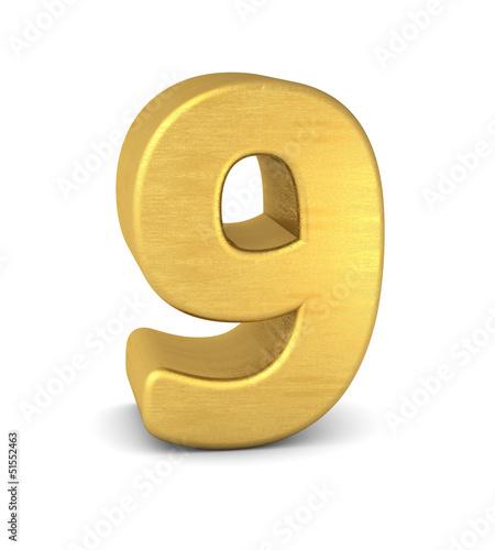 zahl cipher 9 gold vertikal