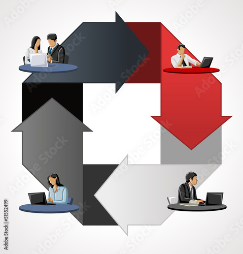 Red and gray template with business people over arrows