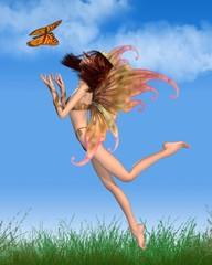 Pretty Orange Fairy in the Sunshine