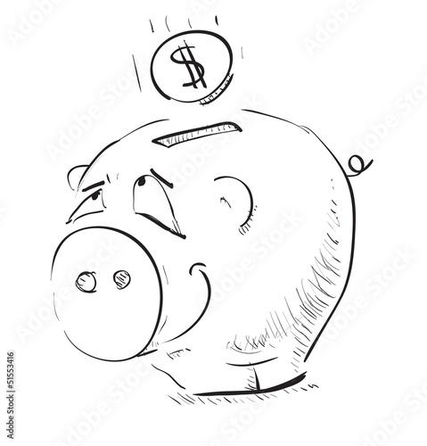 Money cartoon pig money box sketch icon - 51553416