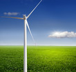 Wind turbine on a green field