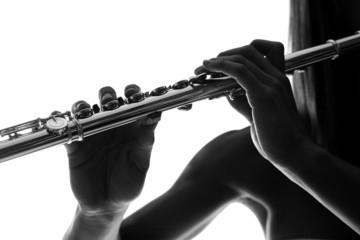 Flutist playing overture