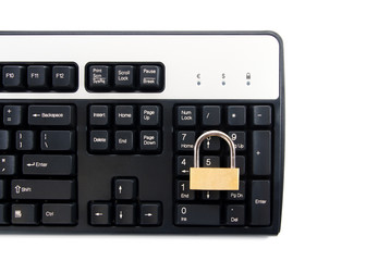 Computer keyboard with padlock for secure transactions