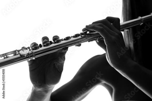 Flutist playing overture