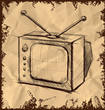 Retro tv with antenna on vintage background