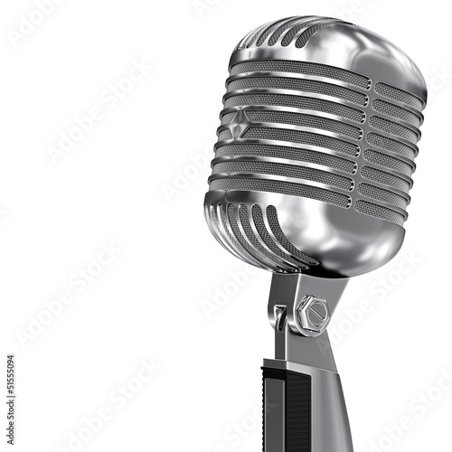 Classic Retro Microphone on a stand isolated