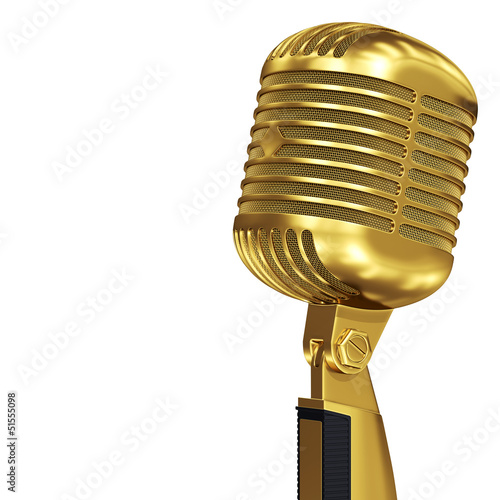 Golden retro microphone gold music award