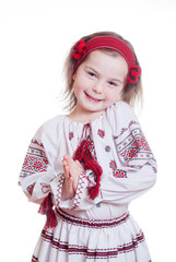 The charming little girl in the Ukrainian national suit