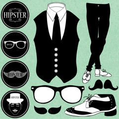 Set of various hipster style elements