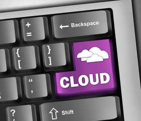 "Keyboard Illustration ""Cloud Computing"""