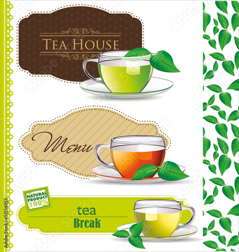 Retro Tea label vector illustration