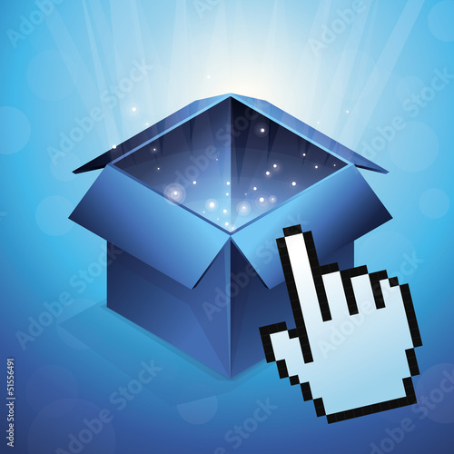 Vector blue box with hand cursor
