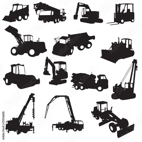 Silhouette of construction machines