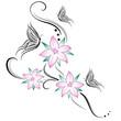 fiori di ciliegio e farfalline stilizzati tatuaggio