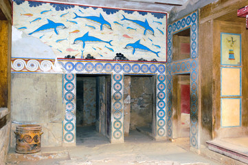 Knossos palace interiors, Crete, Greece