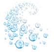Leinwanddruck Bild - vortex of bubbles blue cyan