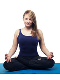 young woman yoga exercise lotus position - isolated