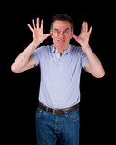 Angry Man Poking Out Tongue with Hands in Ears poster