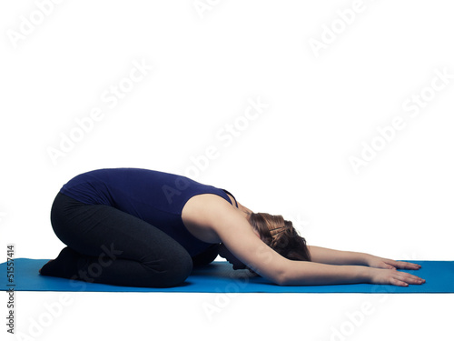 young woman yoga exercise the child  - isolated