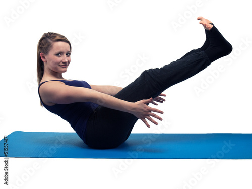 beautiful young woman yoga exercise - isolated