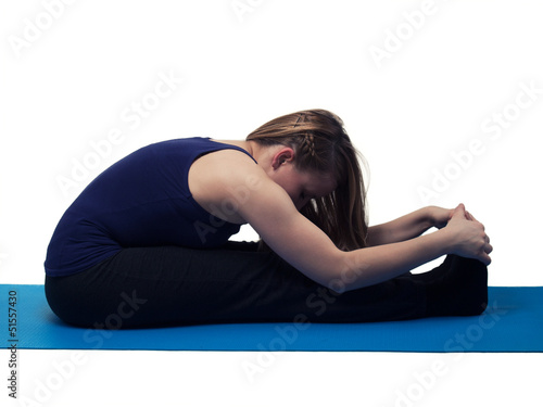young beautiful woman yoga exercise - isolated