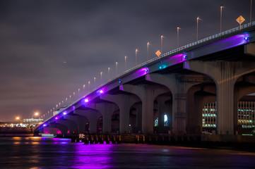 Iluminación nocturna del puente MacArthur en la ciudad de Miami