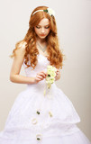 Red Hair Bride with Fresh Flowers in Reverie. Wedding Style