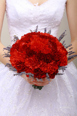 Donation. Vernal Bouquet of Red Flowers in Woman's hands