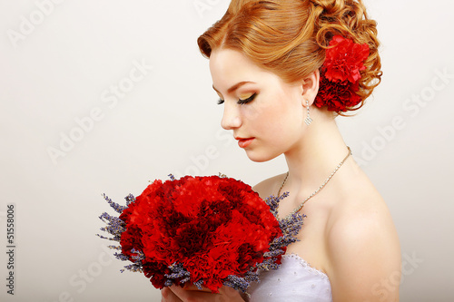 Mildness. Woman with Bouquet of Flowers. Tranquility