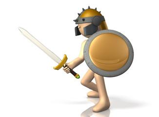 Swordsman takes up the sword.