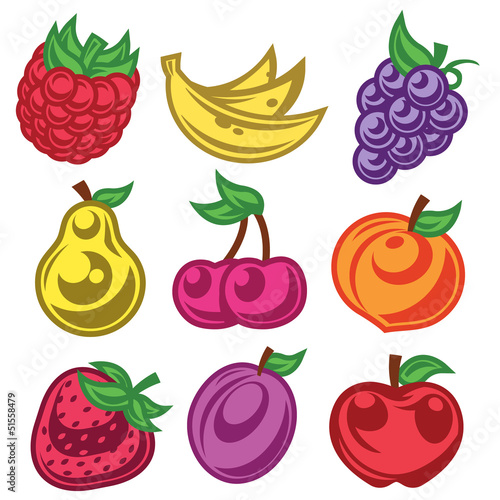 Colorized Stylized Fruit Icons