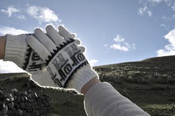 manos en paisaje