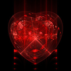 Fractal flame background. Red heart with refractions.