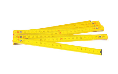 Wooden centimeter ruler, isolated on white background