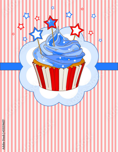 Patriotic cupcake place card